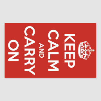 Keep Calm and Carry On Red Stickers Rectangular Sticker
