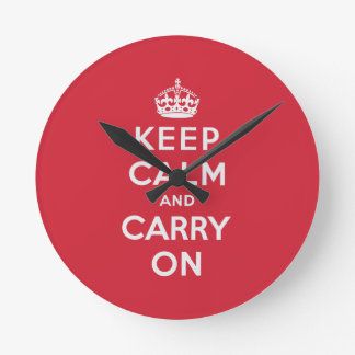 Keep Calm And Carry On Round Clock