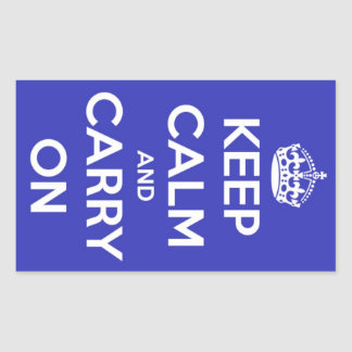 Keep Calm and Carry On Royal Blue Stickers
