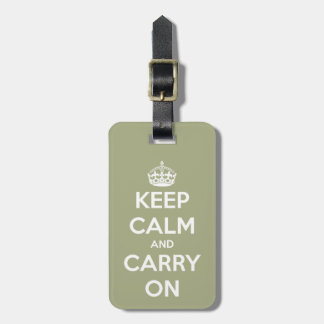 Keep Calm and Carry On Sage Green Travel Bag Tags