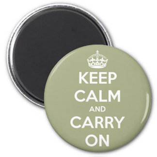 Keep Calm and Carry On Sage Green Round Magnet