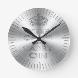 Keep calm and carry on shinning metal craved effec round clock
