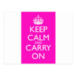 Keep Calm and Carry On Shocking Pink Post Cards