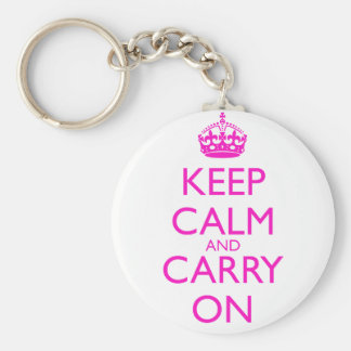 Keep Calm and Carry On Shocking Pink Text Basic Round Button Keychain