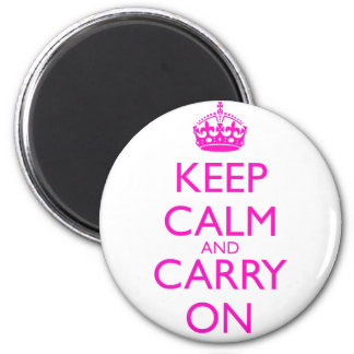 Keep Calm and Carry On Shocking Pink Text Refrigerator Magnet