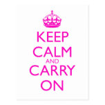 Keep Calm and Carry On Shocking Pink Text Post Cards