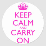 Keep Calm and Carry On Shocking Pink Text Round Sticker