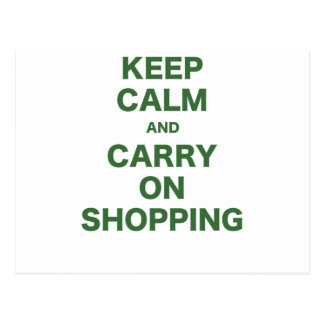 Keep Calm and Carry On Shopping Postcard