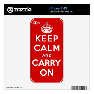 Keep Calm and Carry On Skin For iPhone 4