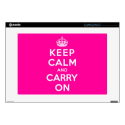 17' Laptop Skin for Mac & PC with Keep Calm and Carry On (Magenta) design