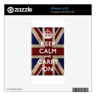 Keep Calm And Carry On Skins For iPhone 4S