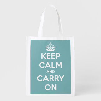 Keep Calm and Carry On Sky Blue and White Reusable Grocery Bag