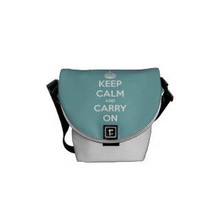 Keep Calm and Carry On Sky Blue Courier Bag