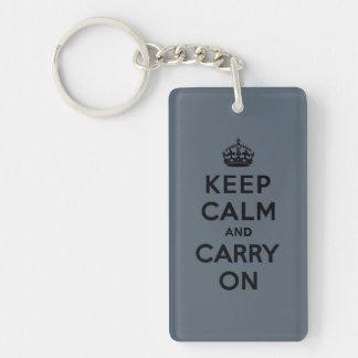 Keep Calm and Carry On  - Slate Gray Double-Sided Rectangular Acrylic Keychain