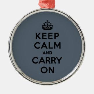 Keep Calm and Carry On  - Slate Gray Metal Ornament