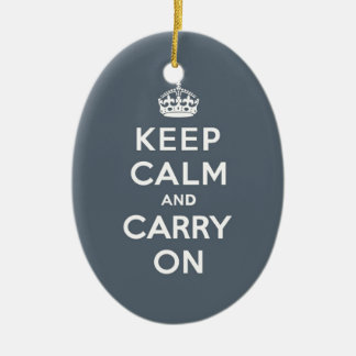 Keep Calm and Carry On Slate Gray with White Text Ceramic Ornament