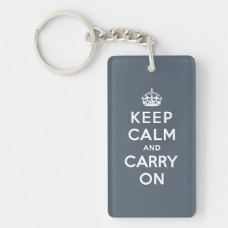 Keep Calm and Carry On Slate Gray with White Text Double-Sided Rectangular Acrylic Keychain