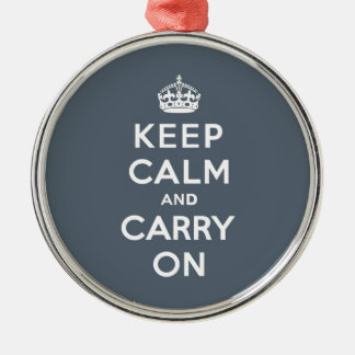 Keep Calm and Carry On Slate Gray with White Text Metal Ornament