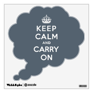 Keep Calm and Carry On Slate Gray with White Text Wall Sticker