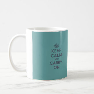 Keep Calm and Carry On Slate on Masculine Teal Coffee Mug
