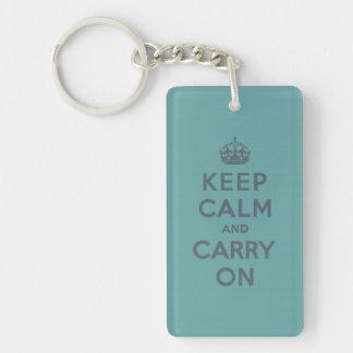 Keep Calm and Carry On Slate on Masculine Teal Keychain
