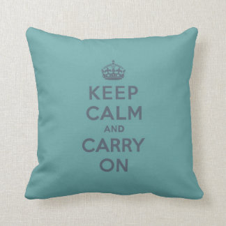 Keep Calm and Carry On Slate on Masculine Teal Throw Pillows