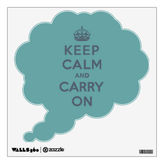 Keep Calm and Carry On Slate on Masculine Teal Wall Sticker