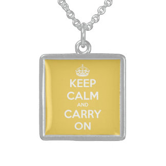 Keep Calm and Carry On Soft Yellow Square Pendant Necklace