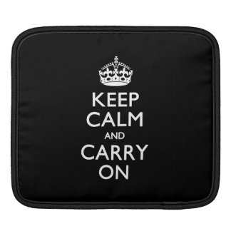 KEEP CALM AND CARRY ON Solid Black iPad Sleeve