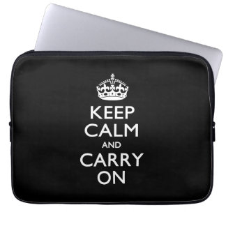 KEEP CALM AND CARRY ON Solid Black Laptop Computer Sleeve