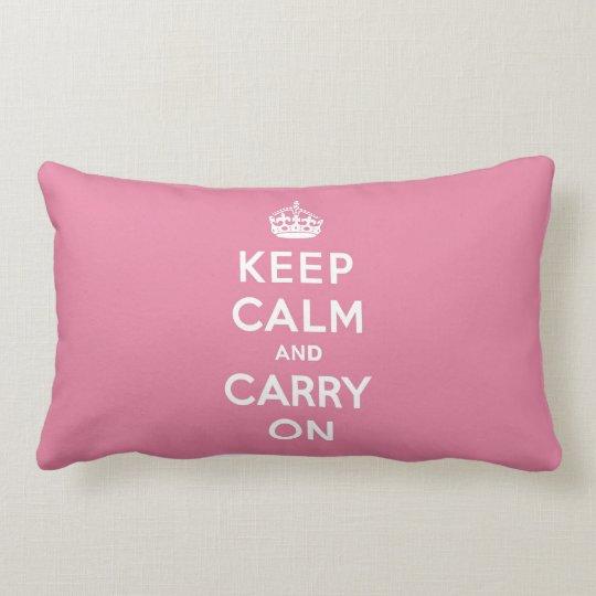 Keep Calm and Carry On Spring Pink Lumbar Pillow