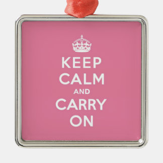 Keep Calm and Carry On Spring Pink Metal Ornament