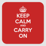 Keep Calm and Carry On Square Sticker - Red
