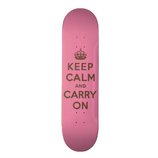 Keep Calm and Carry On Strawberry Pink w/ Brown Skate Boards