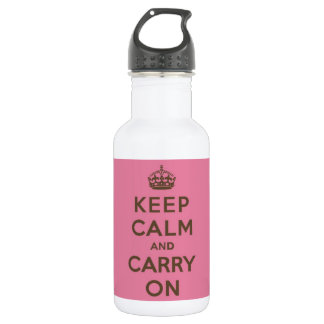 Keep Calm and Carry On Strawberry Pink w/ Brown Stainless Steel Water Bottle