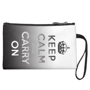 KEEP CALM AND CARRY ON Sueded Mini Clutch