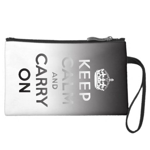 KEEP CALM AND CARRY ON Sueded Mini Clutch Wristlet
