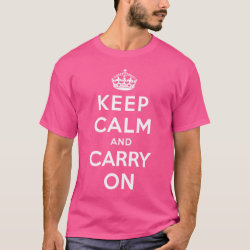 Men's Basic Dark T-Shirt with Keep Calm and Carry On (Magenta) design