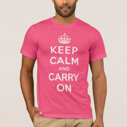 Men's Basic American Apparel T-Shirt with Keep Calm and Carry On (Magenta) design