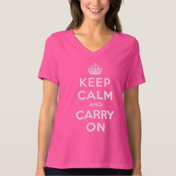 Women's Bella Relaxed Fit Jersey V-Neck T-Shirt with Keep Calm and Carry On (Magenta) design