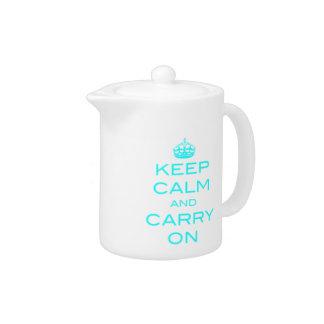 Keep Calm and Carry On Tea Pot - Aqua