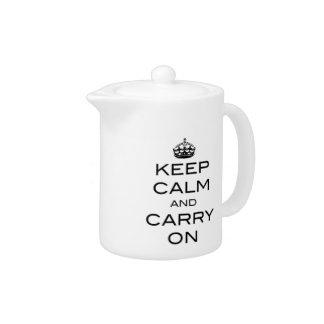 Keep Calm and Carry On Tea Pot - Black