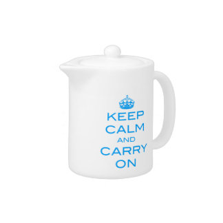 Keep Calm and Carry On Tea Pot - Blue