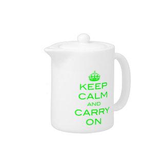 Keep Calm and Carry On Tea Pot - Green