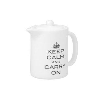 Keep Calm and Carry On Tea Pot - Grey
