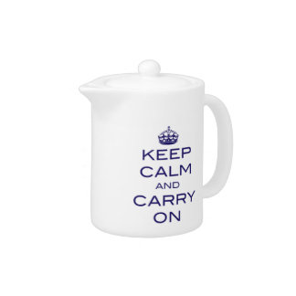 Keep Calm and Carry On Tea Pot - Navy Blue