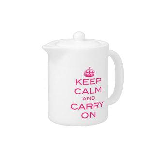 Keep Calm and Carry On Tea Pot - Pink