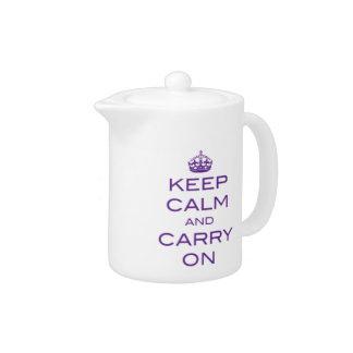 Keep Calm and Carry On Tea Pot - Purple