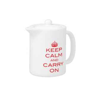 Keep Calm and Carry On Tea Pot - Red