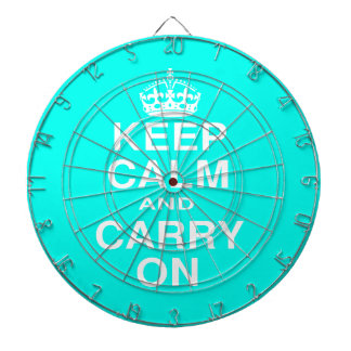 Keep Calm and Carry On Teal and White Dart Board